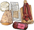 4 Cured Meats & Cheeses plus Crackers Customizable Gift Box