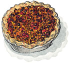 Cranberry Walnut Pie in Wooden Crate